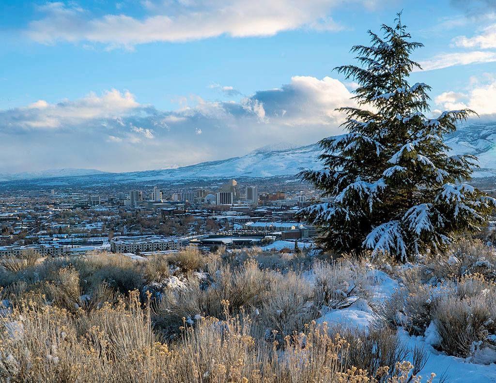 Reno skyline in winter