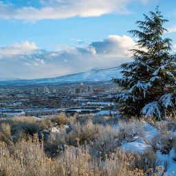 Reno skyline in winter